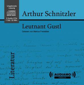 Cover der CD Leutnant Gustl von Arthur Schnitzler. Schwarze Schrift auf blauem Hintergrund